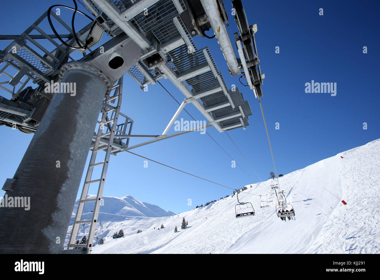 Alpes françaises. Télésiège. La France. Photo Stock