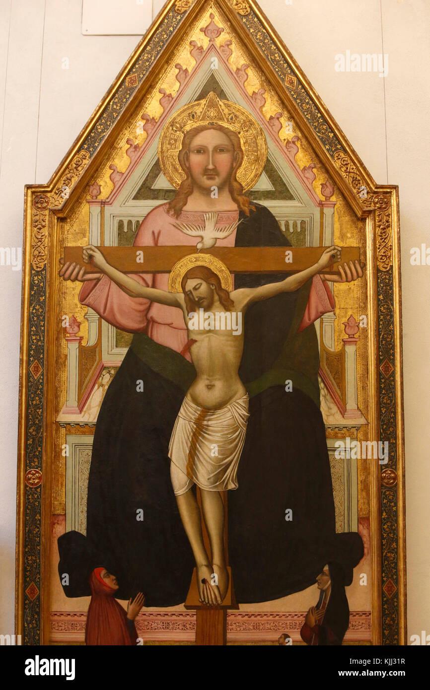 Musée du Capitole, Rome. Niccolò di Pietro Gerini, la Trinité, tempera sur bois, vers 1400. Détail. Photo Stock