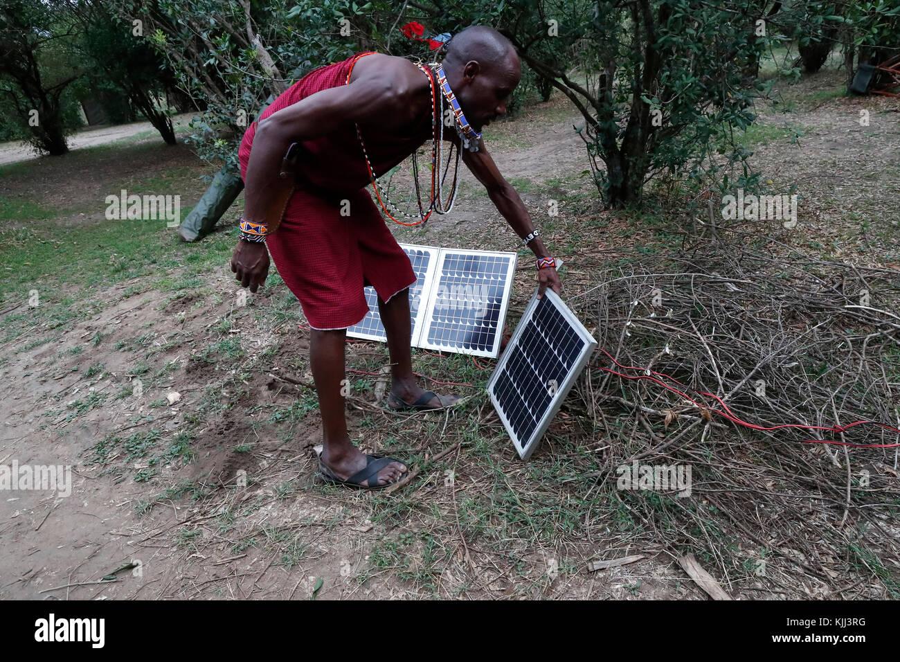 Panneau solaire utilisé comme source alternative d'énergie à un safari camp. Le Masai Mara. Au Photo Stock