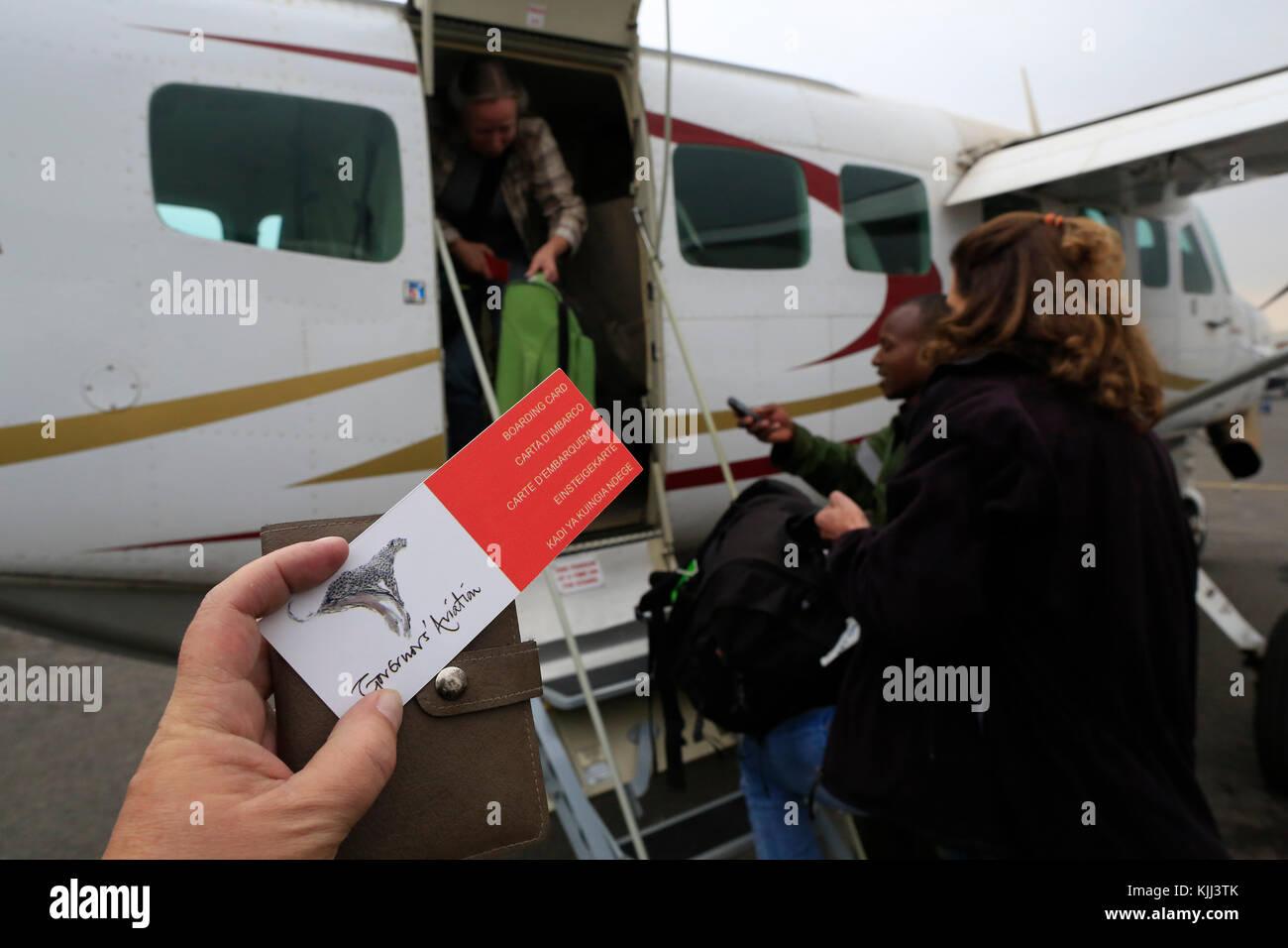 L'aviation du gouverneur. Carte d'embarquement. Le Masai Mara. Au Kenya. Photo Stock