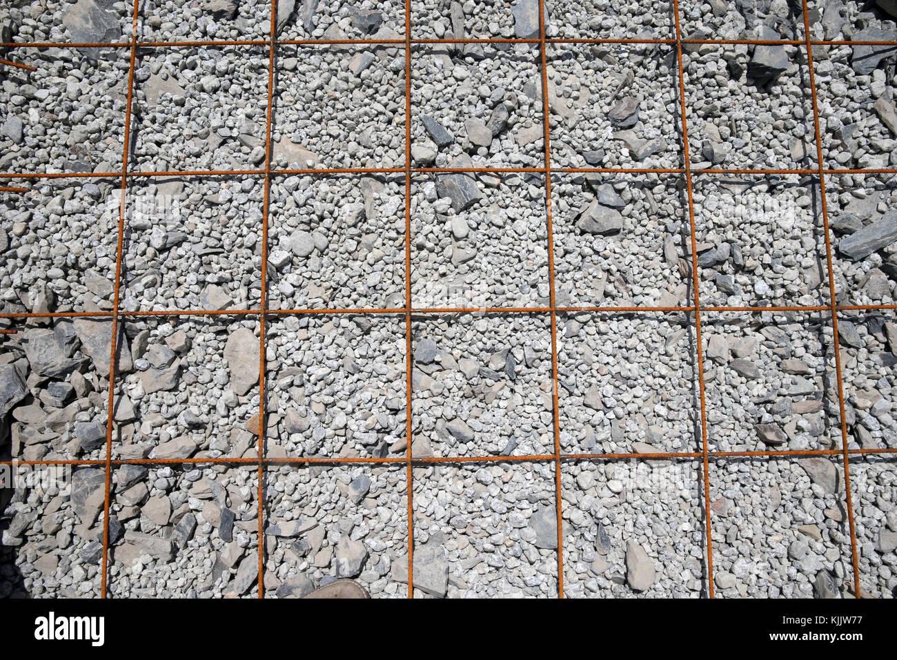 Site de construction. Les tiges de métaux rouillés. La France. Photo Stock