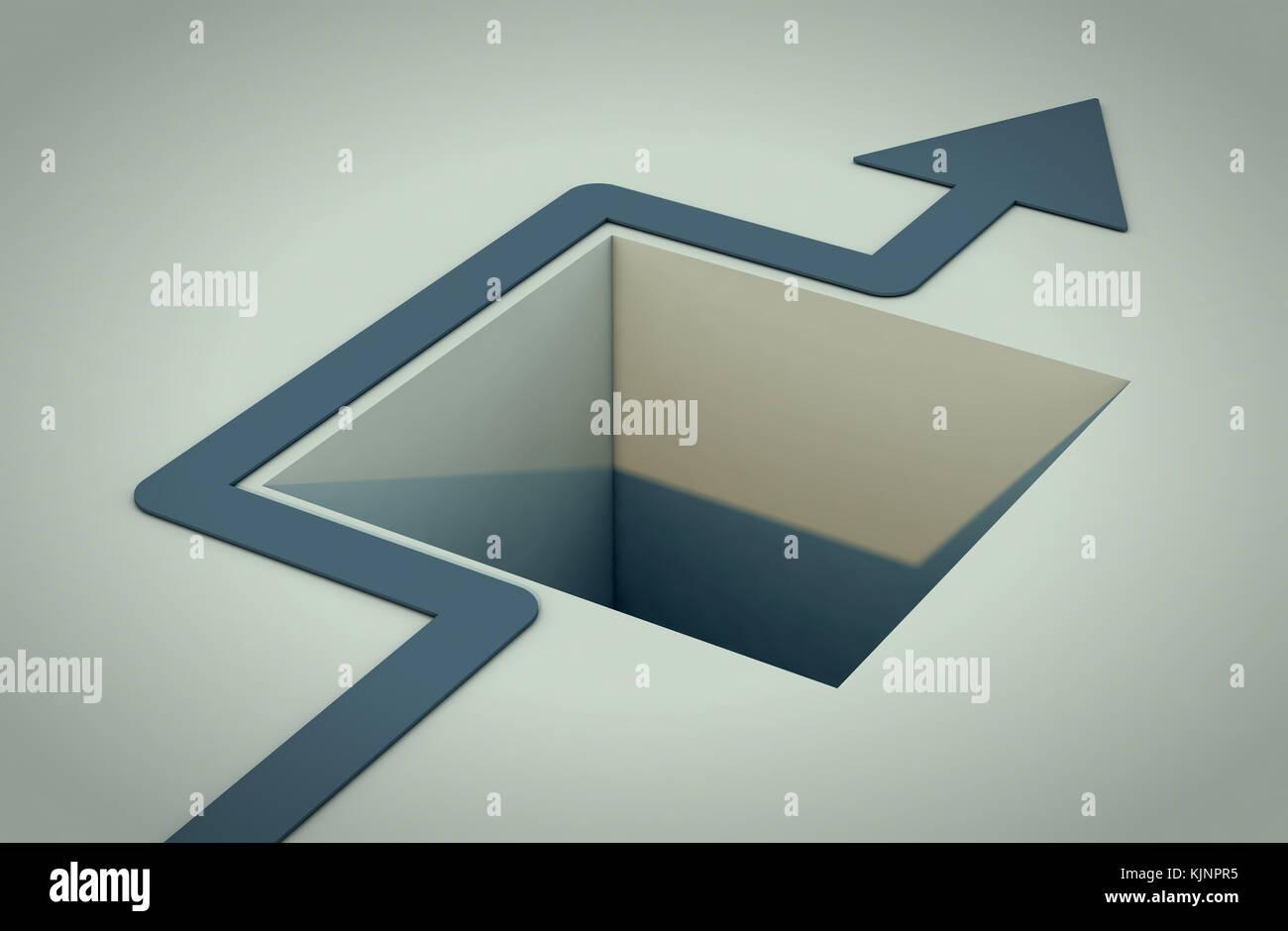 Un trou dans le sol avec une flèche qu'il évite (3d render) Photo Stock