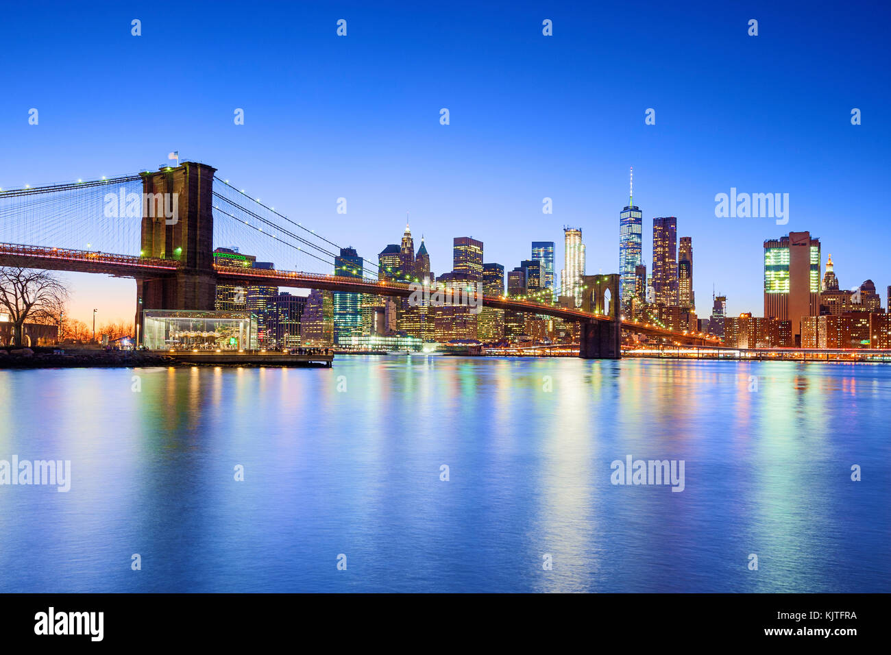Toits de New York New York City Pont de Brooklyn Un WTC World Trade Center Photo Stock