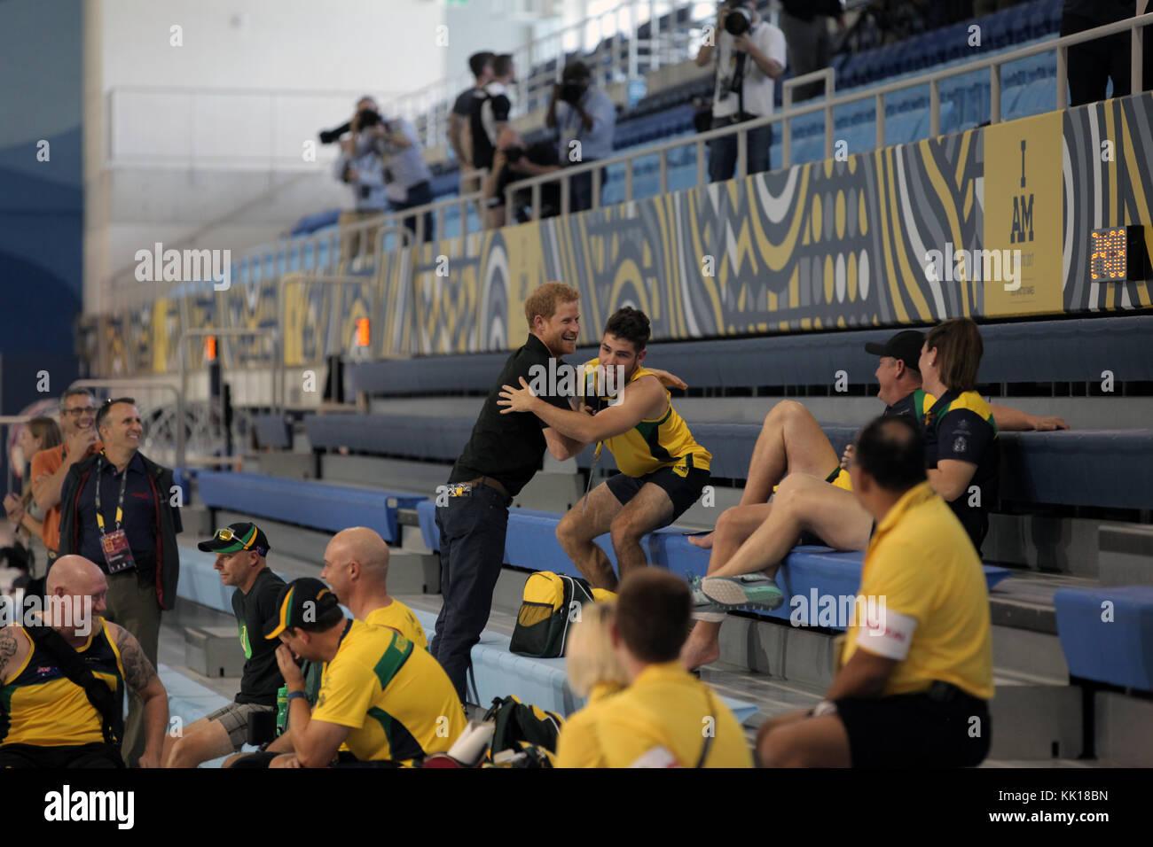 Royaume-uni, le prince Harry de galles se réunit avec les athlètes en compétition dans l'Invictus Photo Stock