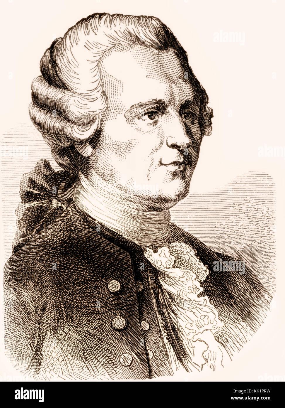 Jean-Baptiste le Rond d'Alembert, 1717-1783, un mathématicien français, scientifique américain, Photo Stock