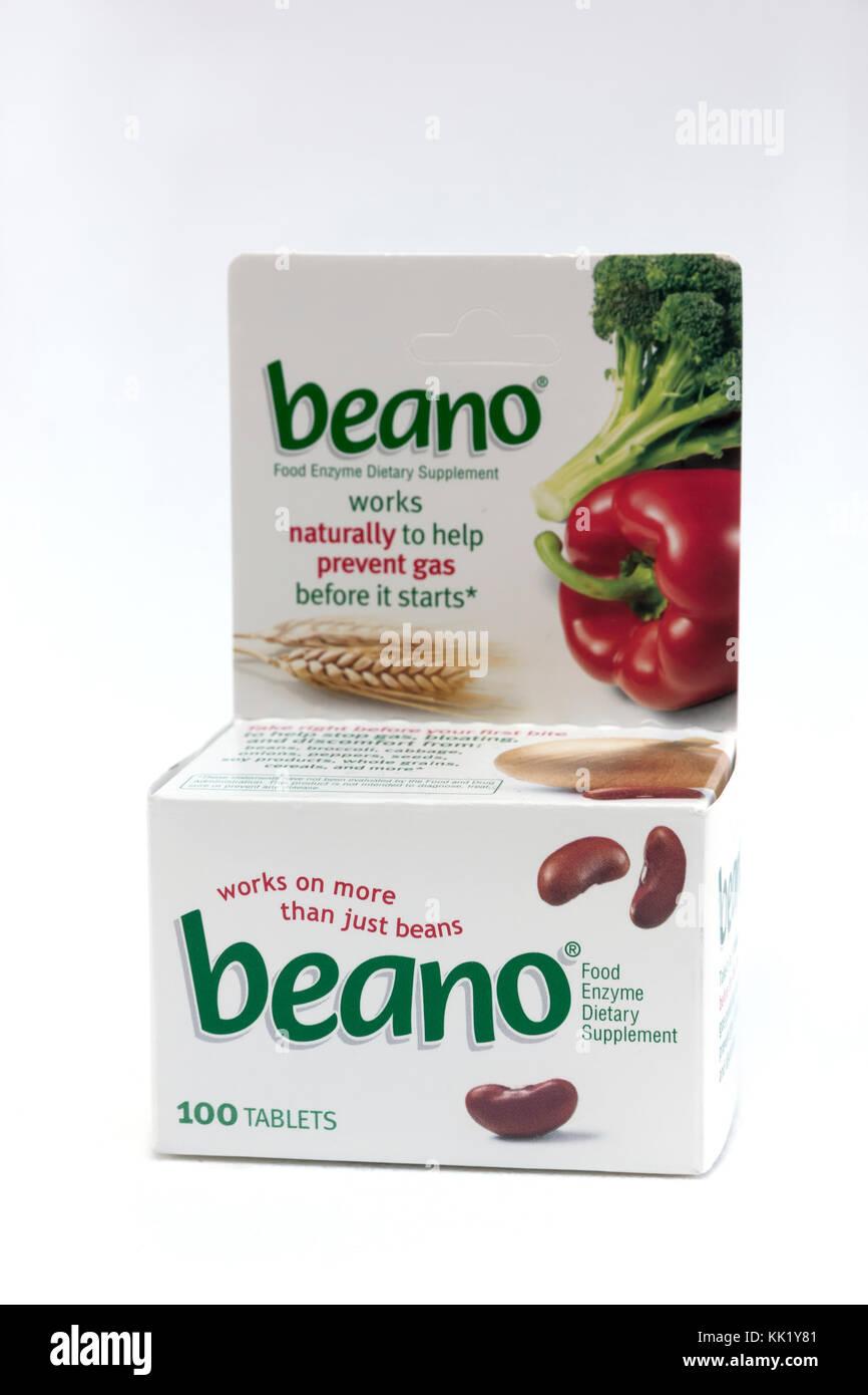Beano tablets prévenir gaz avec enzymes naturels qui décomposent les glucides complexes contenus dans Photo Stock