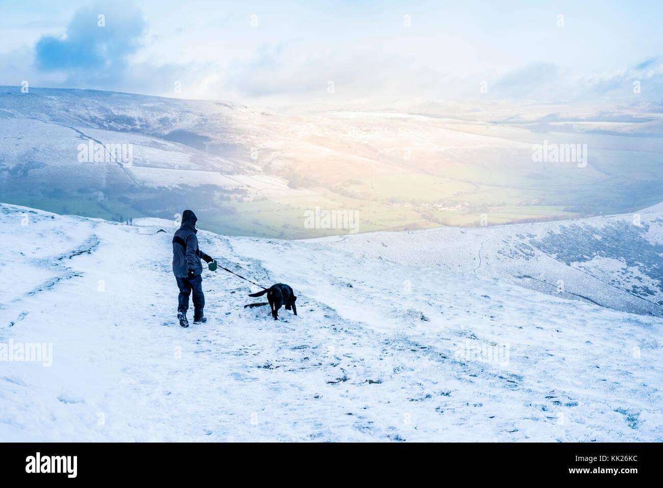 Promenade de chiens dans la neige. Randonneur et de chien dehors à la fin de l'automne la neige sur la Photo Stock