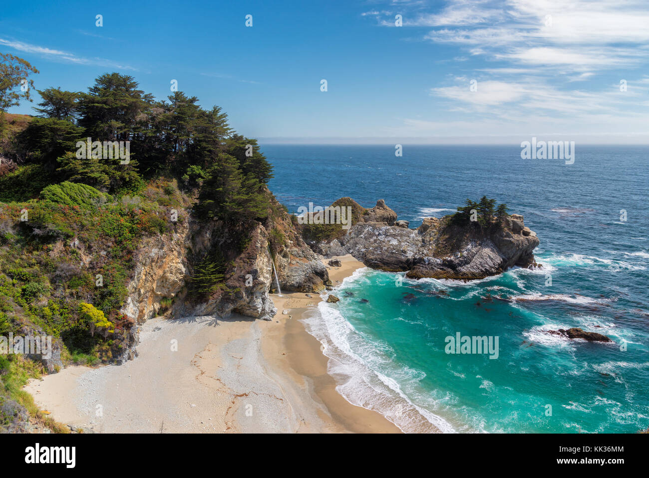 Plage de l'océan pacifique et chutes en califirnia Photo Stock