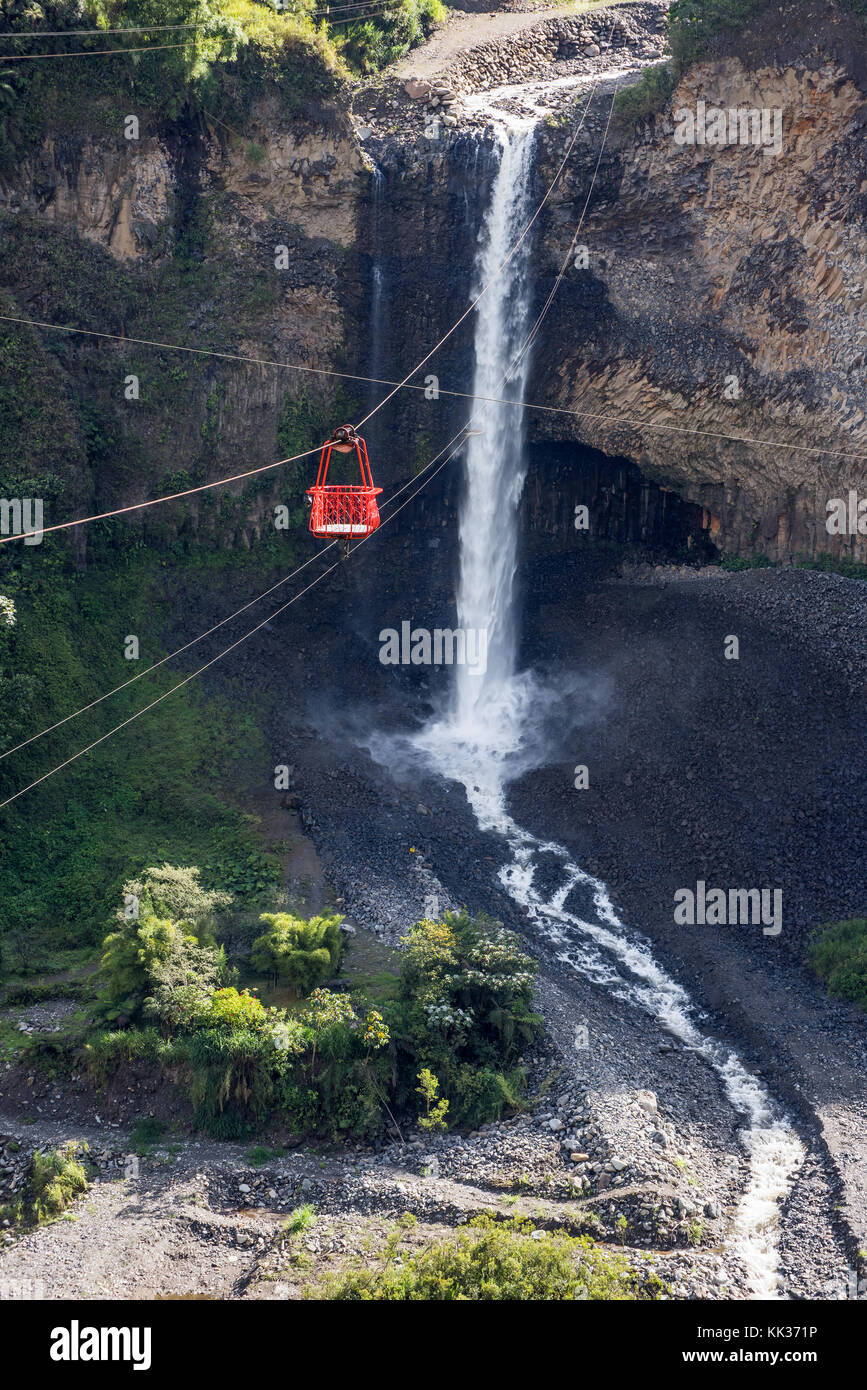 Bridal Veil (manto de la novia), Cascade en cascades itinéraire, banos, Equateur Photo Stock