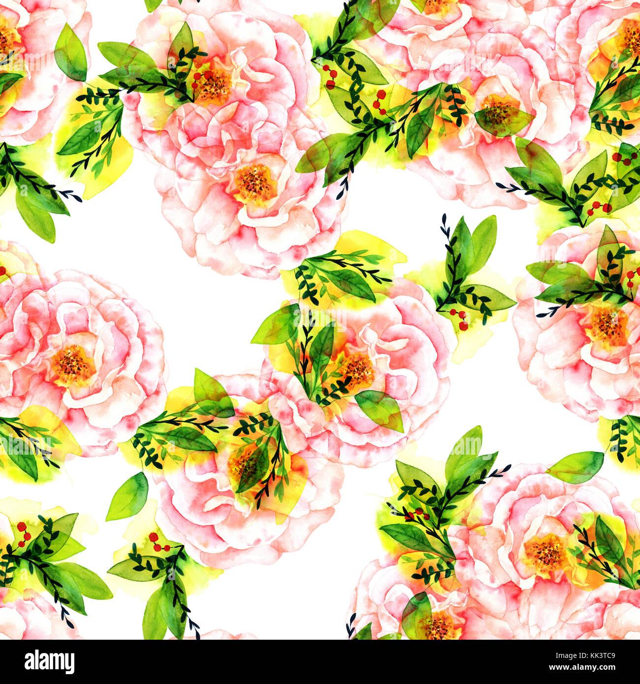 Un Modele Sans Couture Avec Une Aquarelle Dessin D Une Rose Rose En