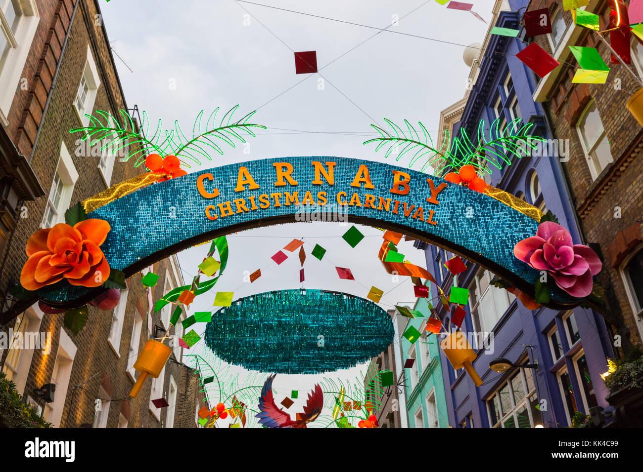 Sur le thème du carnaval de Noël lumières de Noël 2017 à Carnaby Street, Londres Photo Stock