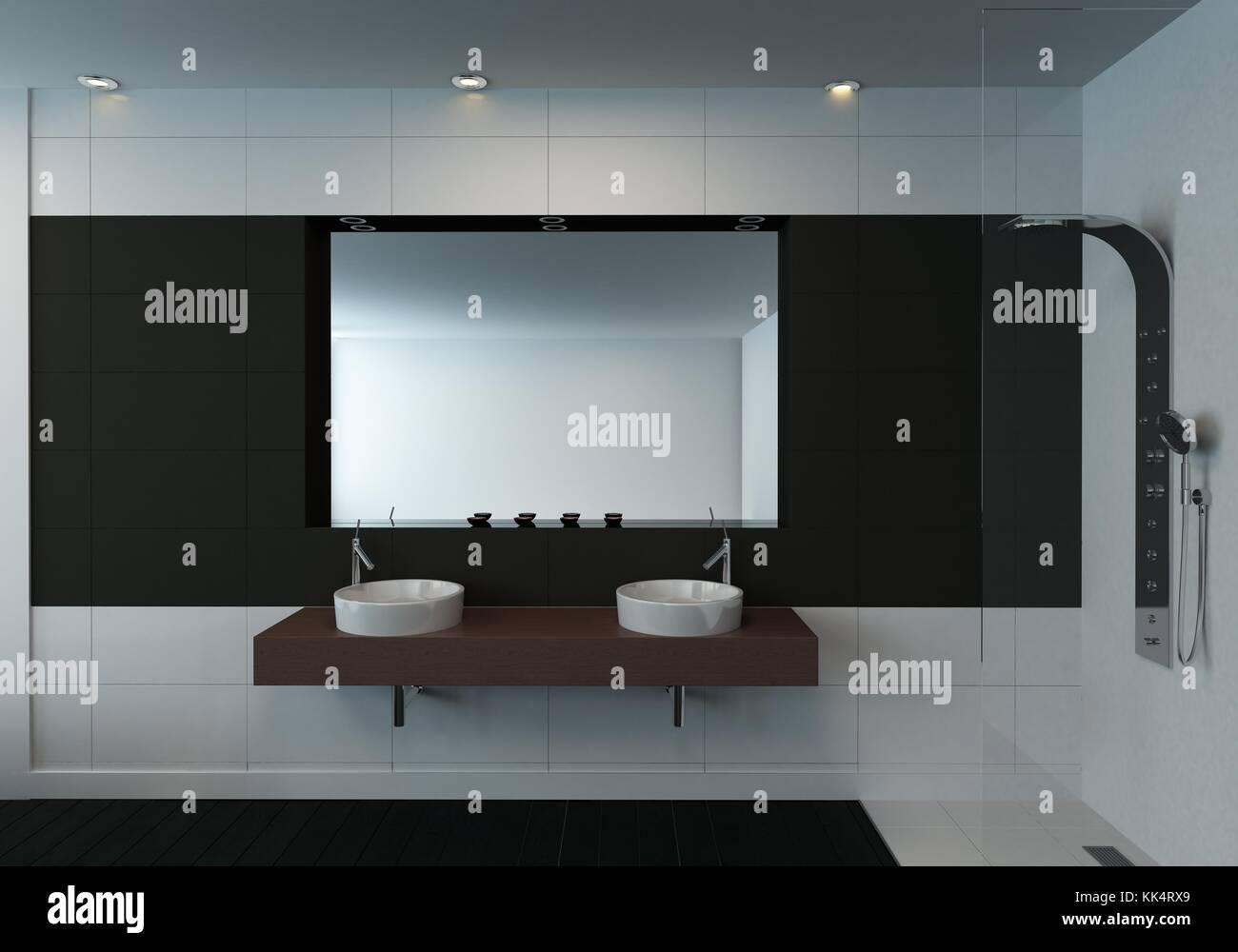 Noir Et Blanc Moderne Et Minimaliste De L Int Rieur Salle De Bains