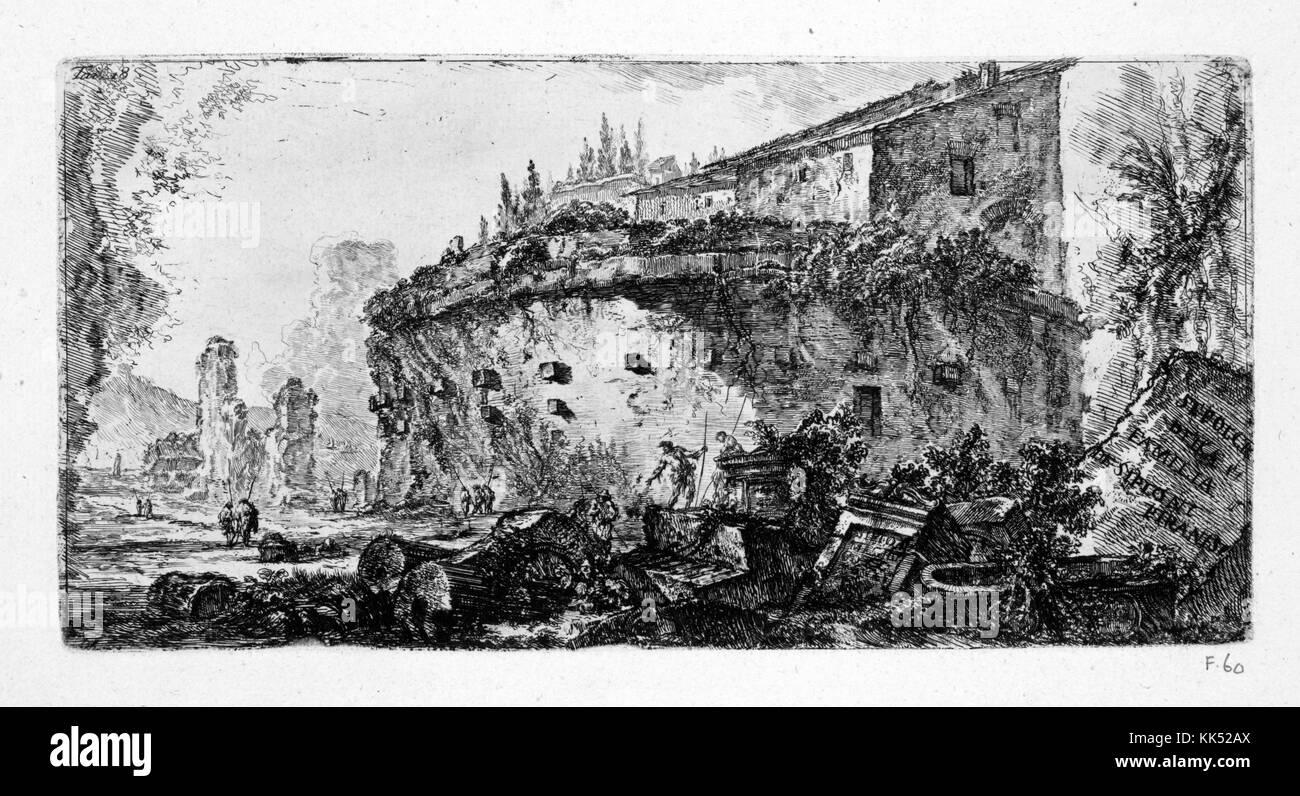 Une gravure représentant l'extérieur de la tombe du scipios, le bâtiment a servi de lieu de sépulture Photo Stock