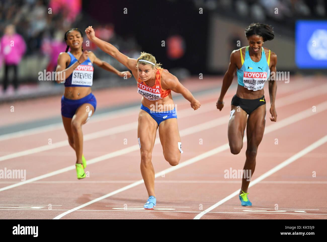 Dafne Schippers - 200m femmes Médaille d'or aux Championnats du monde IAAF - London 2017 Photo Stock