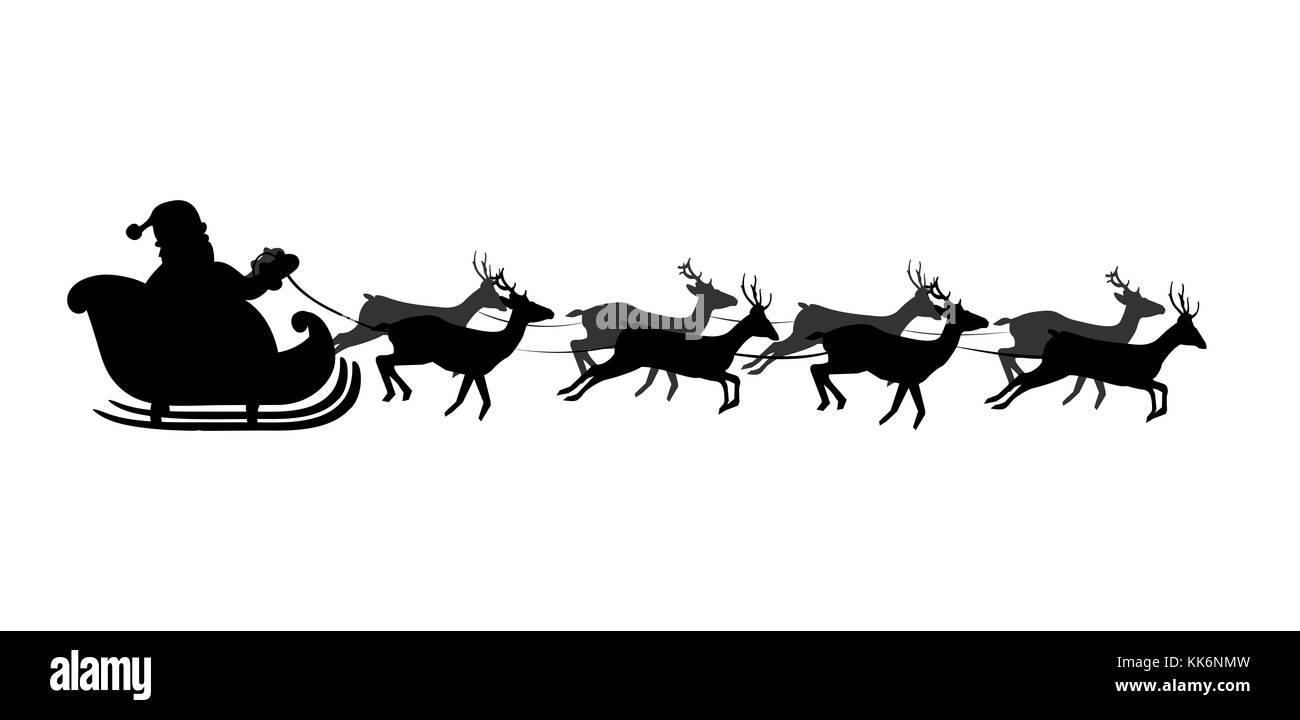 silhouette noire du tra neau du p re no l isol sur fond blanc illustration vectorielle ic ne. Black Bedroom Furniture Sets. Home Design Ideas