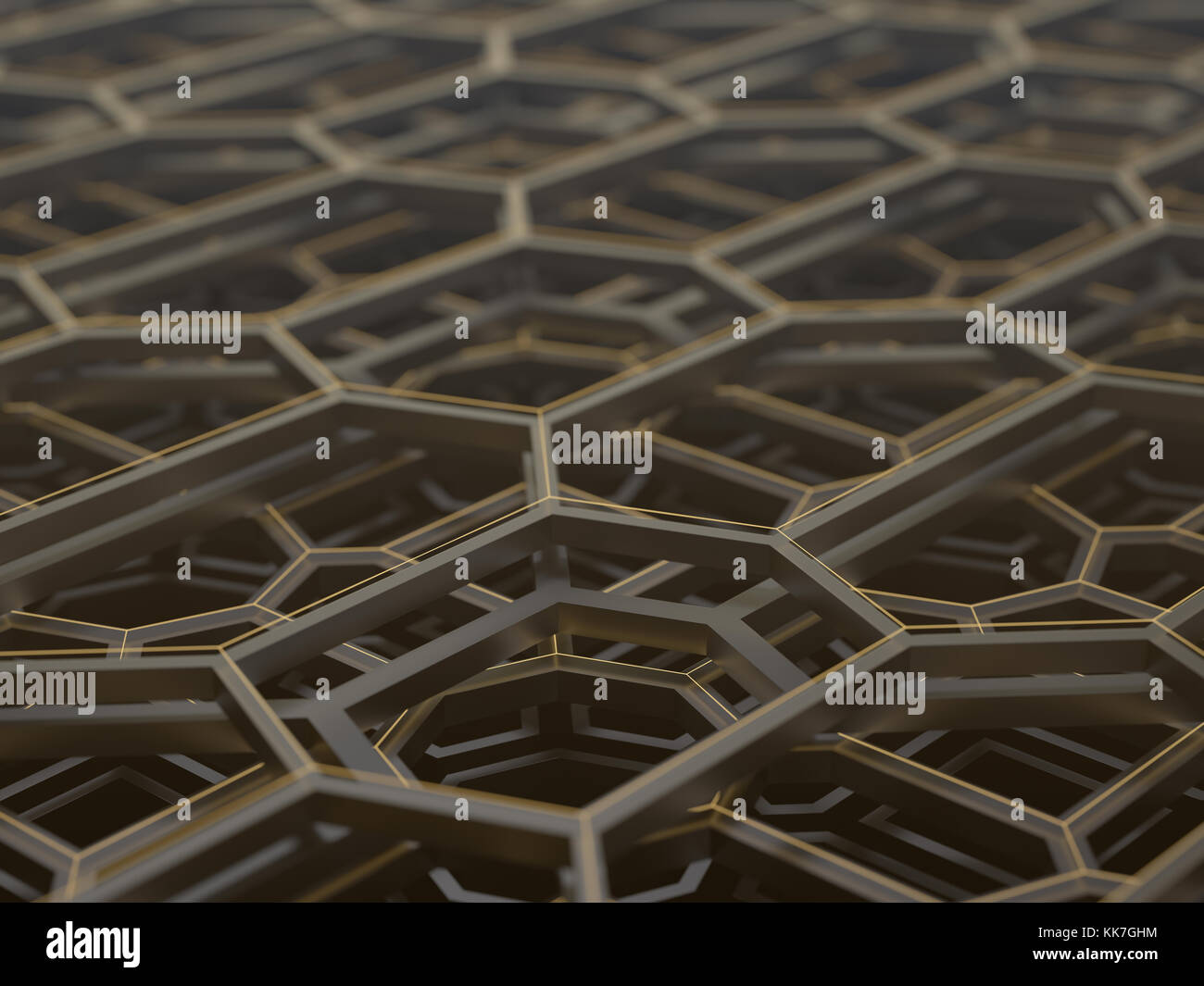 3D illustration. Concept image d'une structure technologique complexe et abstrait. Photo Stock