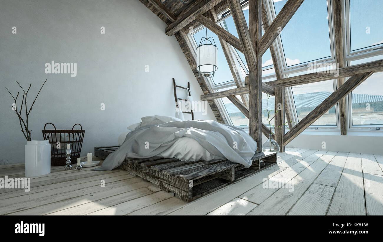 Hipster tendance loft moderne chambre avec conversion palette ...