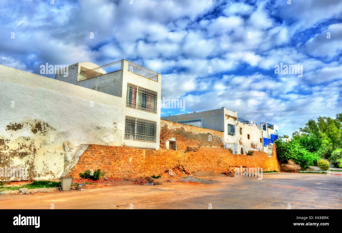 Maisons traditionnelles dans la médina de Hammamet, Tunisie Photo Stock