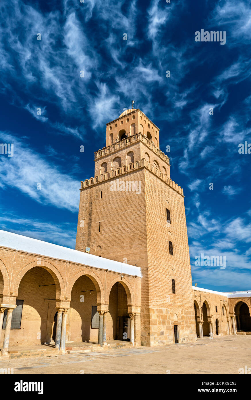 La grande mosquée de Kairouan en Tunisie Photo Stock