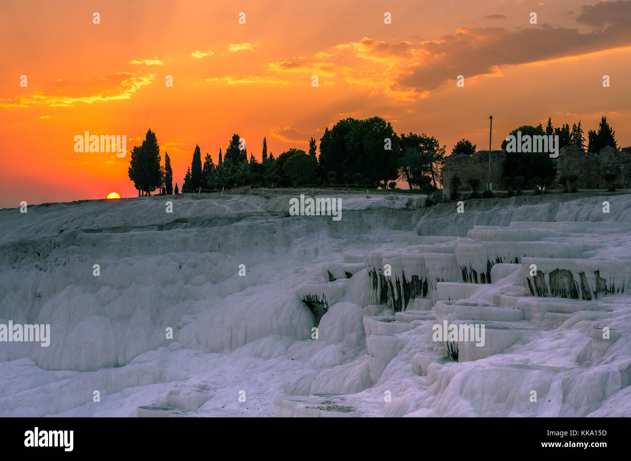 Plus de coucher de soleil spectaculaire Pamukkale, Turquie Banque D'Images
