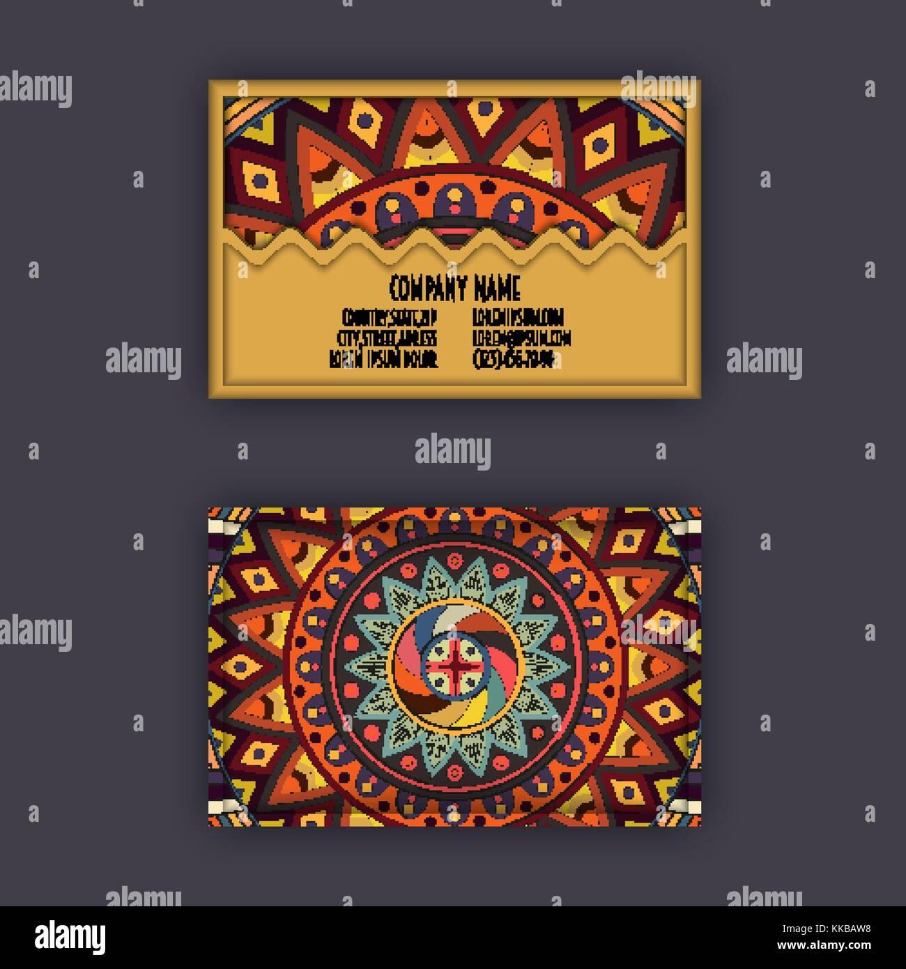 Carte De Visite Vintage Vector Set Motif Floral Mandala Et Ornements La Conception Orientale Mise En Page Lislam Arabe Indienne