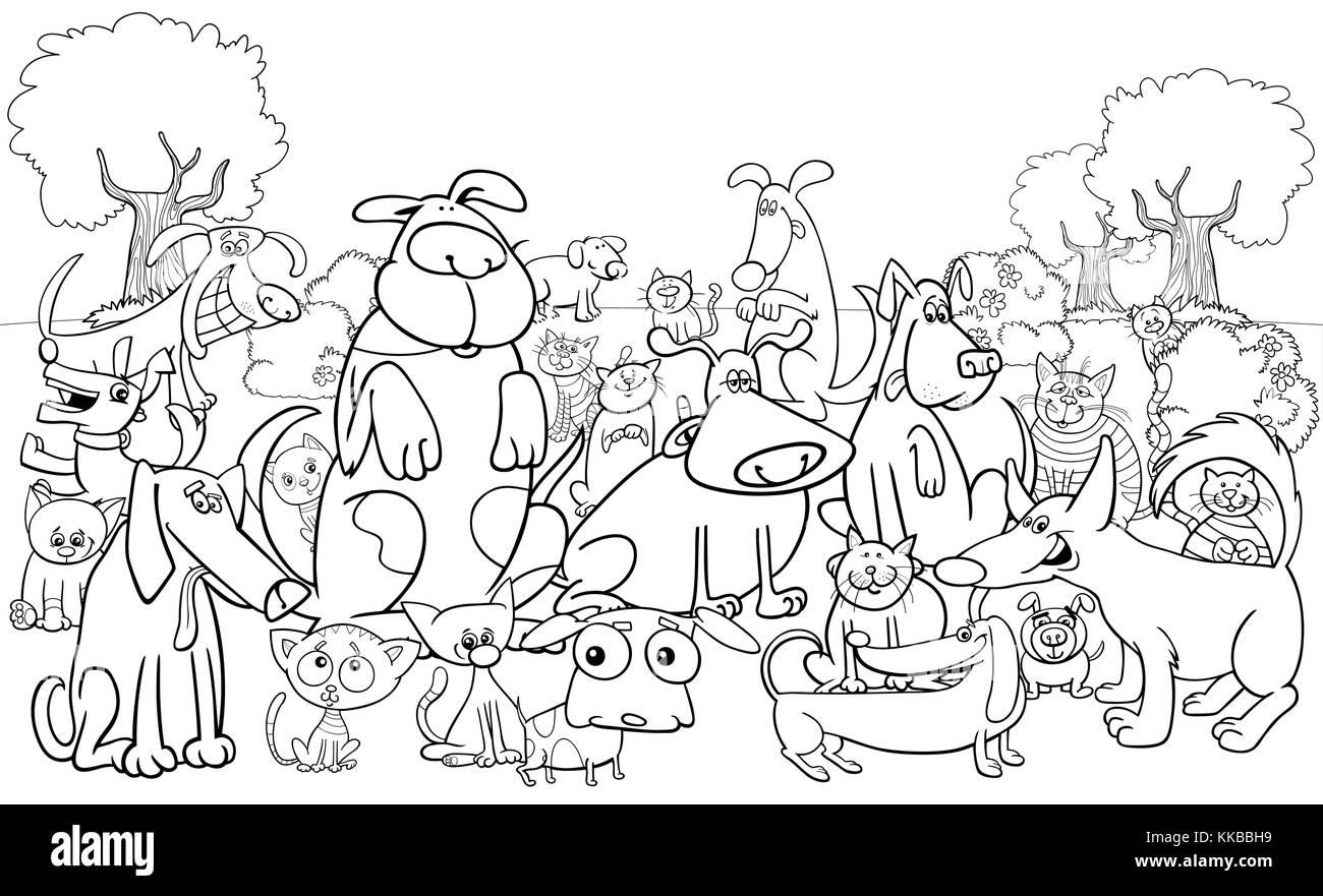 Cartoon Noir Et Blanc Illustration De Chiens Et Chats