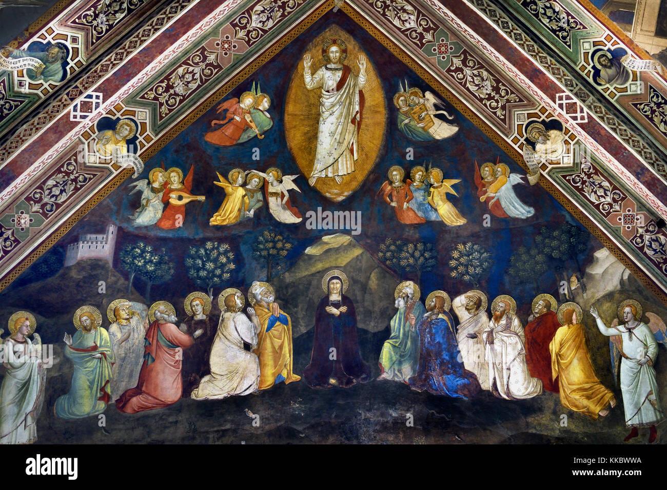 Jésus et les douze apôtres, par Andrea di Bonaiuto, 1365-1367, chapelle des Espagnols, la Basilique de Photo Stock