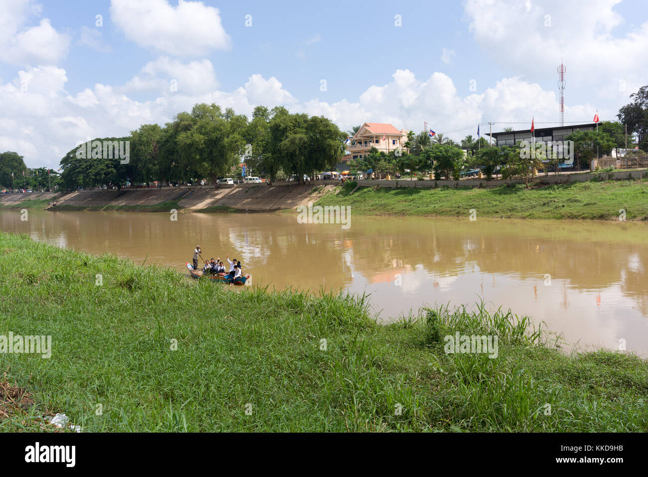La rivière stung sangke dans la ville de Battambang Photo Stock
