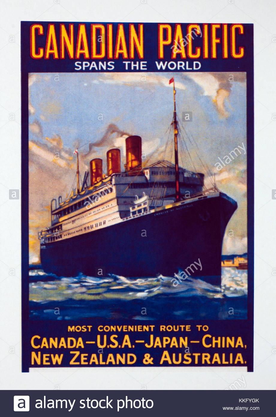 Canadien Pacifique grands lacs Croisière Voyage Vintage Style Rétro Métal Signe
