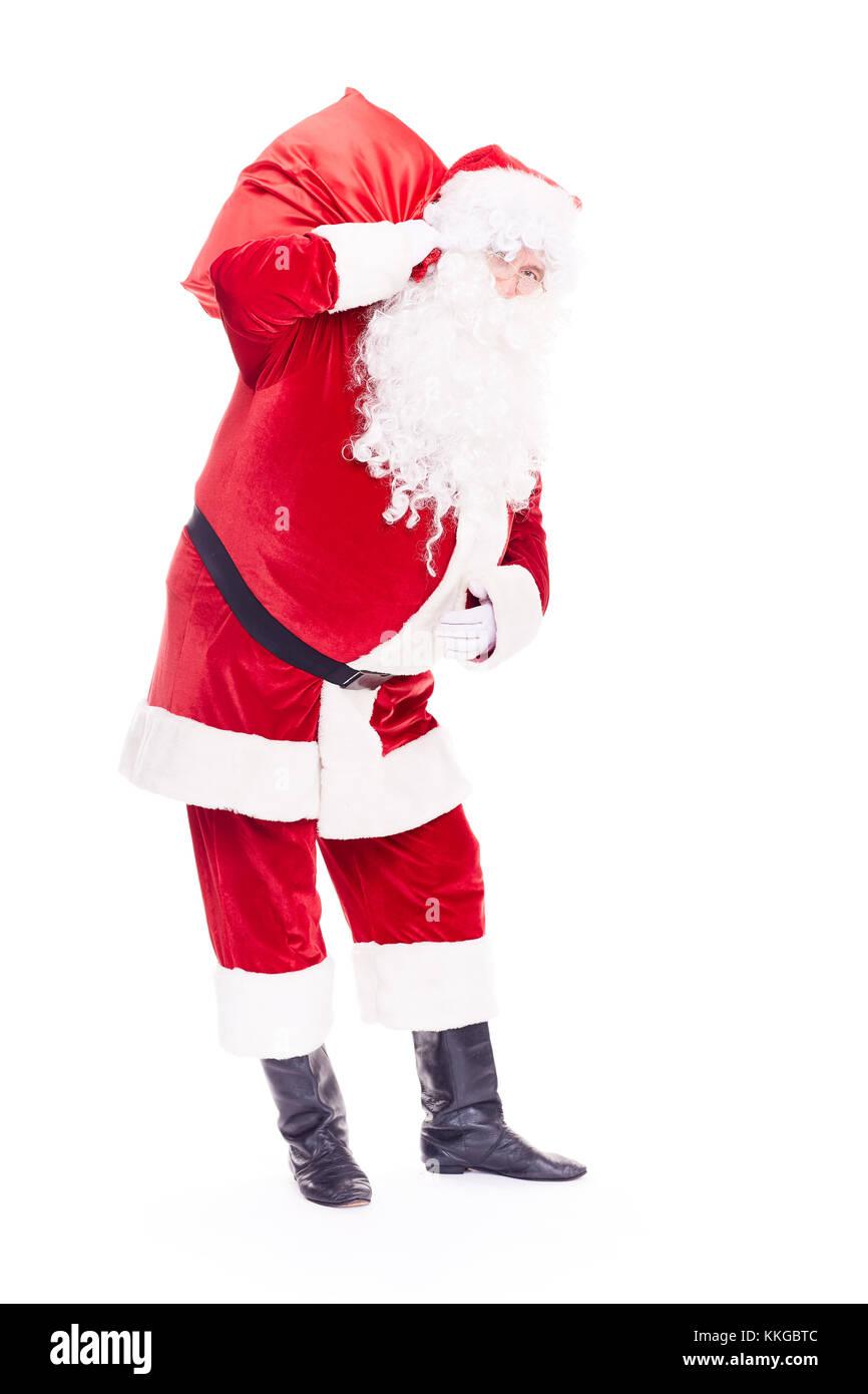 Père Noël avec sac Photo Stock