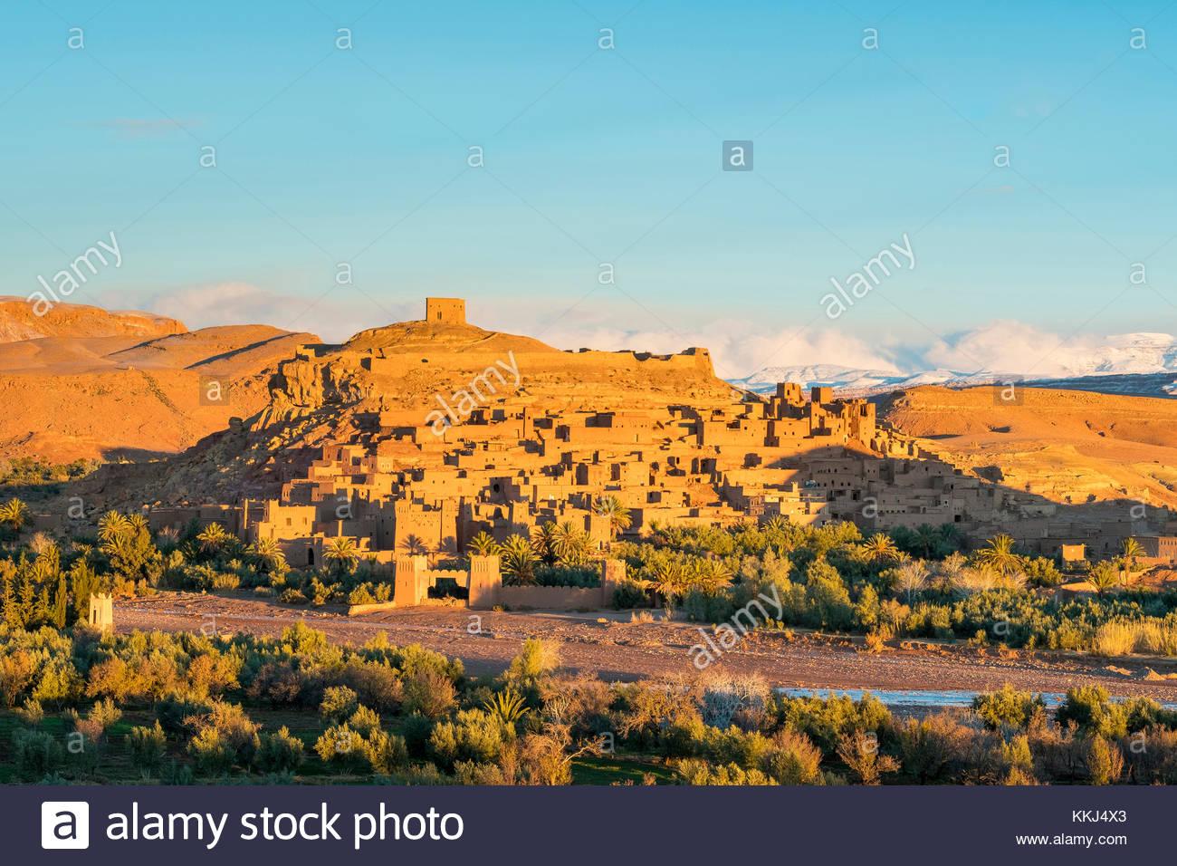 Le Maroc, Sous-Massa (Sous-Massa-Draa), Province de Ouarzazate. Ksar d'Ait Ben Haddou (Ait Benhaddou). Photo Stock