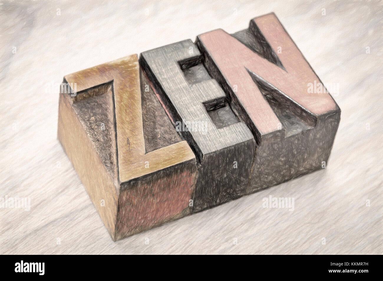 Zen résumé en word typographie vintage wooden blocks filtre à