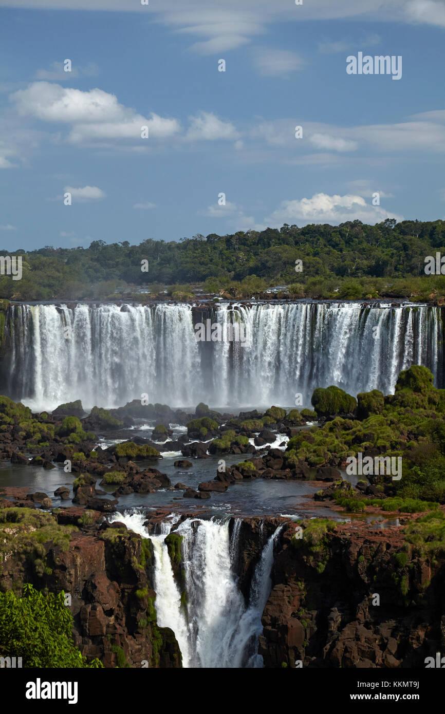 Salto salto rivadavia et tres musqueteros, iguazu, argentine, vu de côté, l'Amérique du Sud Brésil Photo Stock