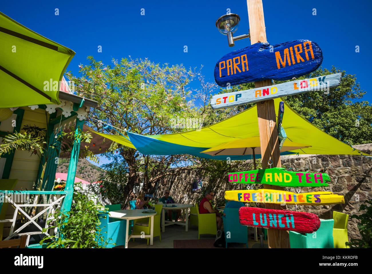 Pays-bas, Saint Eustache, Oranjestad, papa mira bar à jus Photo Stock