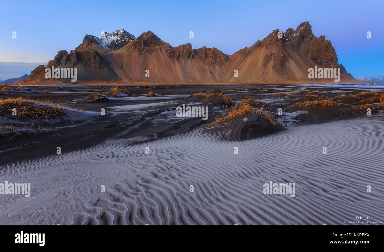 Vue sur le vestrahorn, stokksnes, Hofn, Islande, Europe Photo Stock