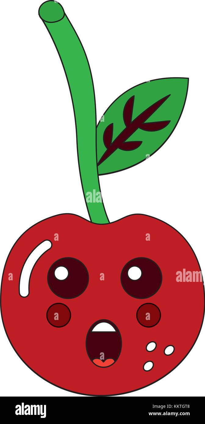 Kawaii Cherry Fruit L Expression Du Visage De Dessin Anime