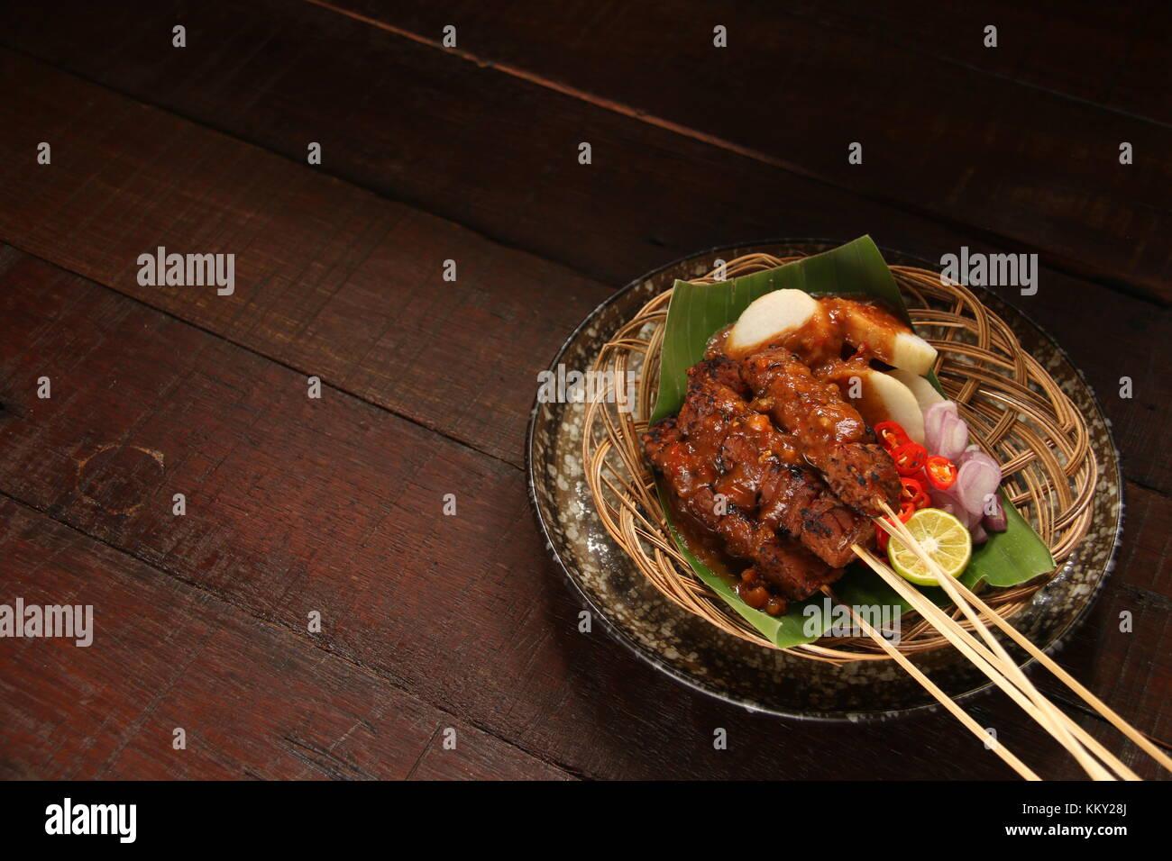 Sate Kere, le tempeh populaires de Satay / Solo Surakarta, centre de Java Photo Stock
