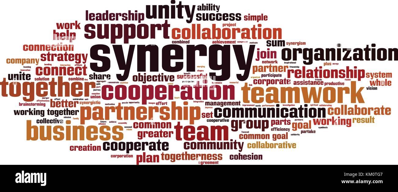 Mot synergie concept cloud. Vector illustration Photo Stock