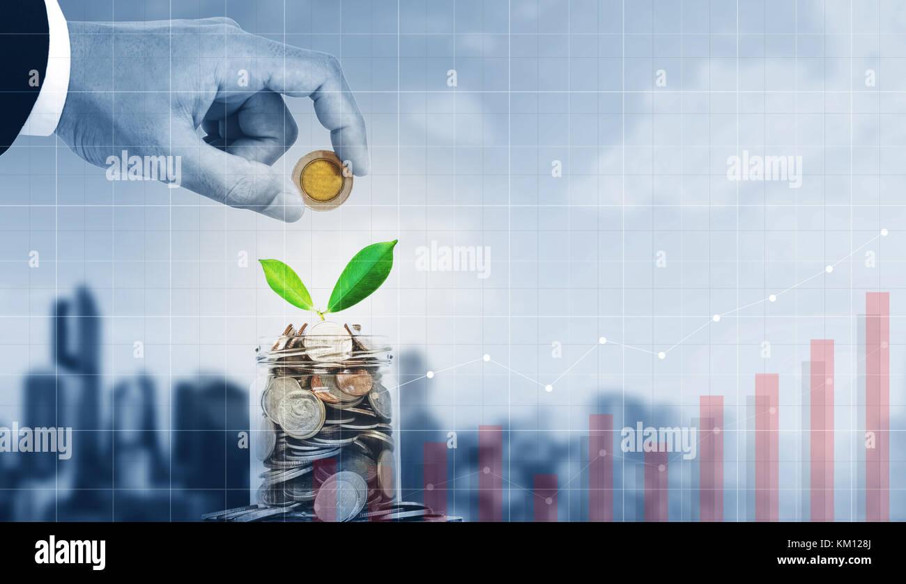 L'investissement des entreprises, l'argent d'économie et la croissance de l'entreprise Photo Stock