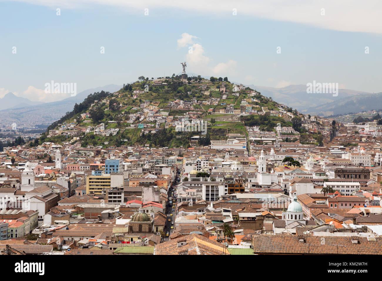 La colline Panecillo, Quito Equateur Amérique du Sud Photo Stock