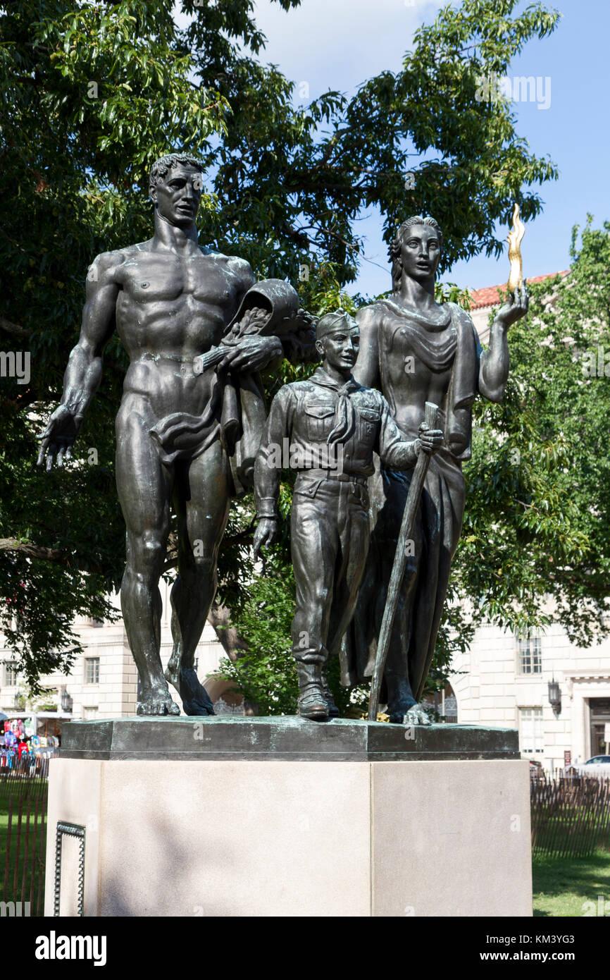 Le boy-scout Memorial (par le sculpteur américain Donald de lire), l'Ellipse, Washington, D.C., United Photo Stock