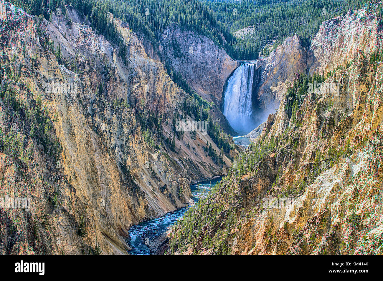Yellowstone canyon sur la rivière Yellowstone vu de l'artiste 'point', Wyoming, USA Photo Stock