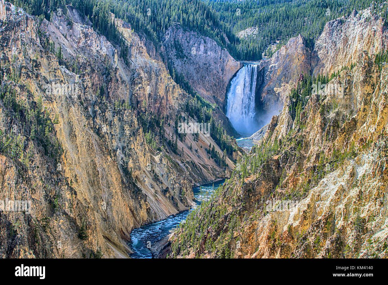 Yellowstone canyon sur la rivière Yellowstone vu de l'artiste 'point', Wyoming, USA Photo Stock