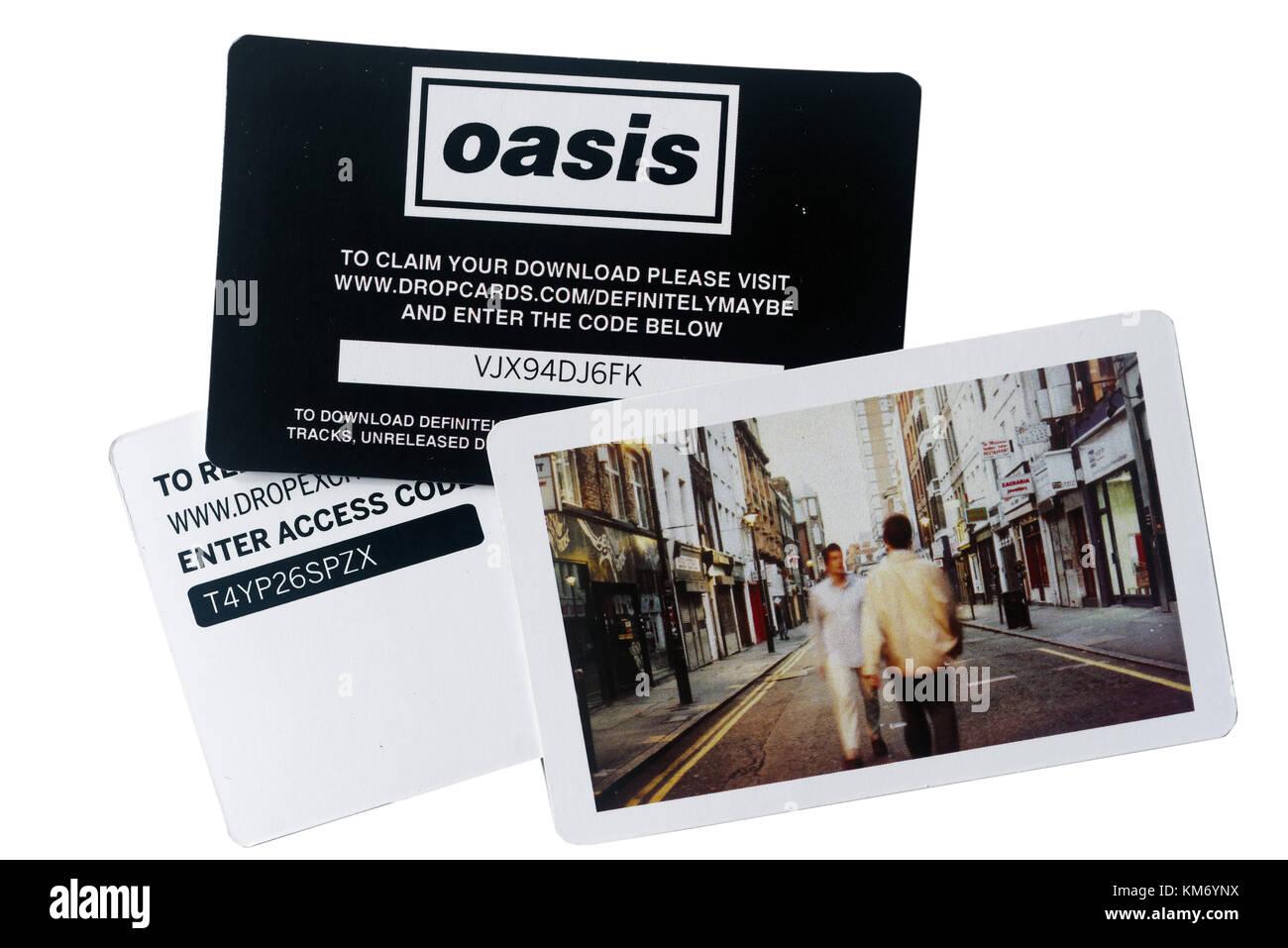 Album Numérique Oasis télécharger jeux de cartes inclus lorsque vous achetez un disque vinyle Photo Stock