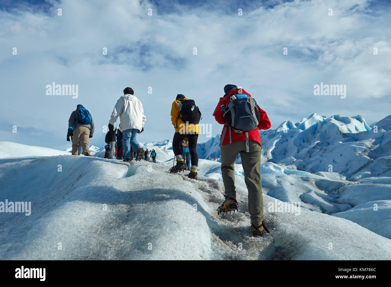 Randonneurs sur le glacier Perito Moreno, Parque Nacional Los Glaciares (zone du patrimoine mondial), Patagonie, Photo Stock