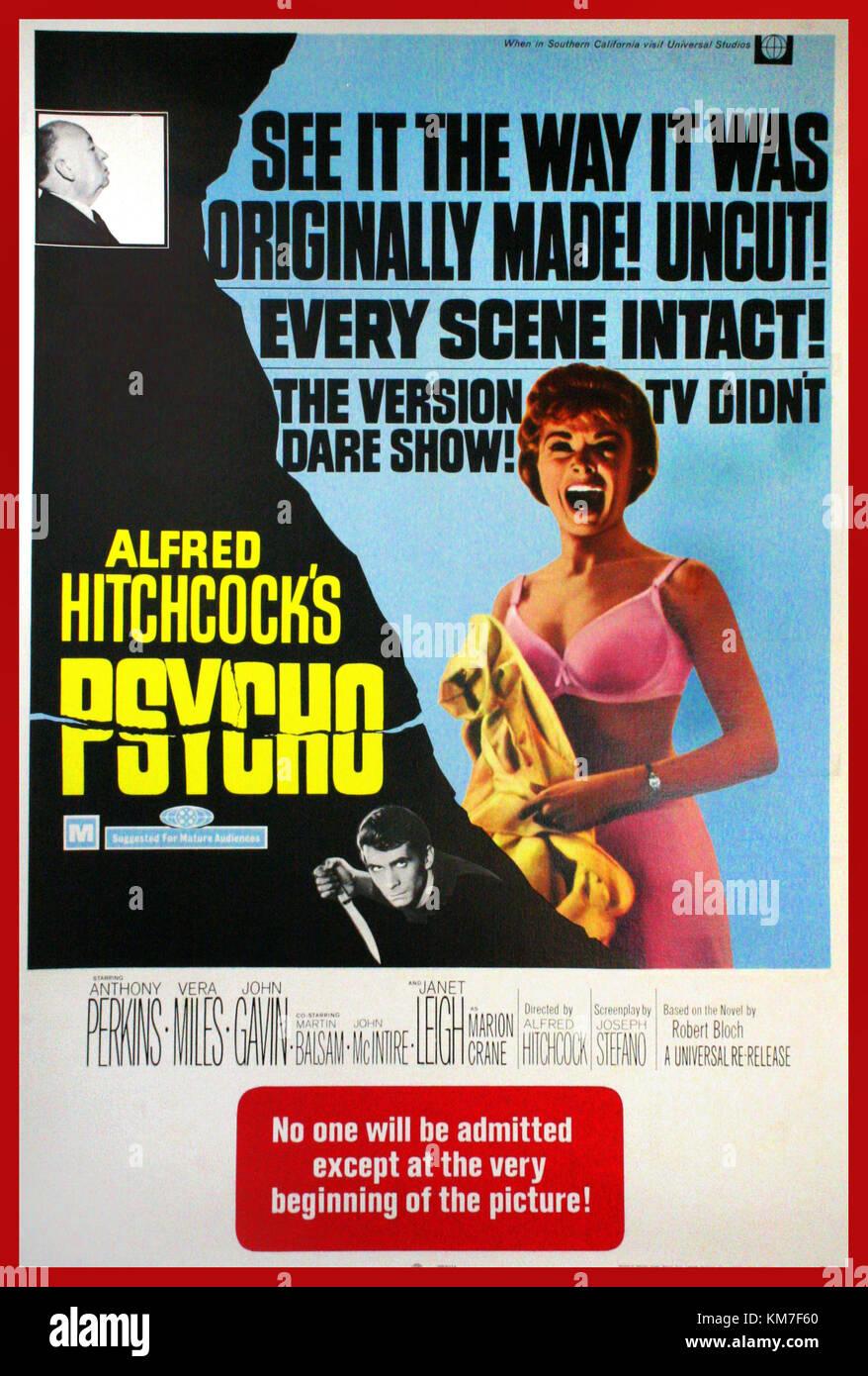 """""""PSYCHO"""" d'Alfred Hitchcock des années 1960, affiche de film Film avec Anthony Perkins, Vera Photo Stock"""