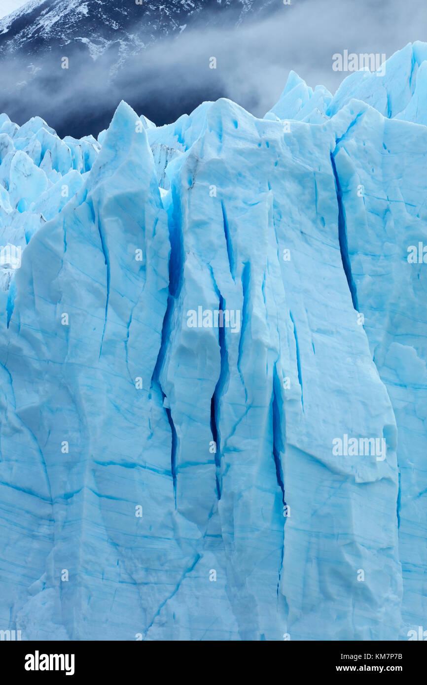 Face à la borne de Perito Moreno Glacier, Parque Nacional Los Glaciares (zone du patrimoine mondial), Patagonie, Photo Stock