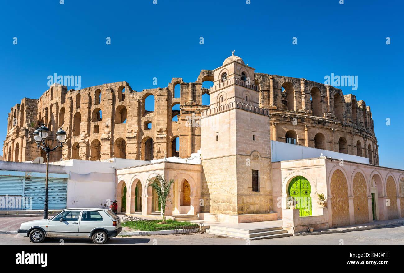 Mosquée et amphithéâtre d'El Jem, Tunisie Photo Stock