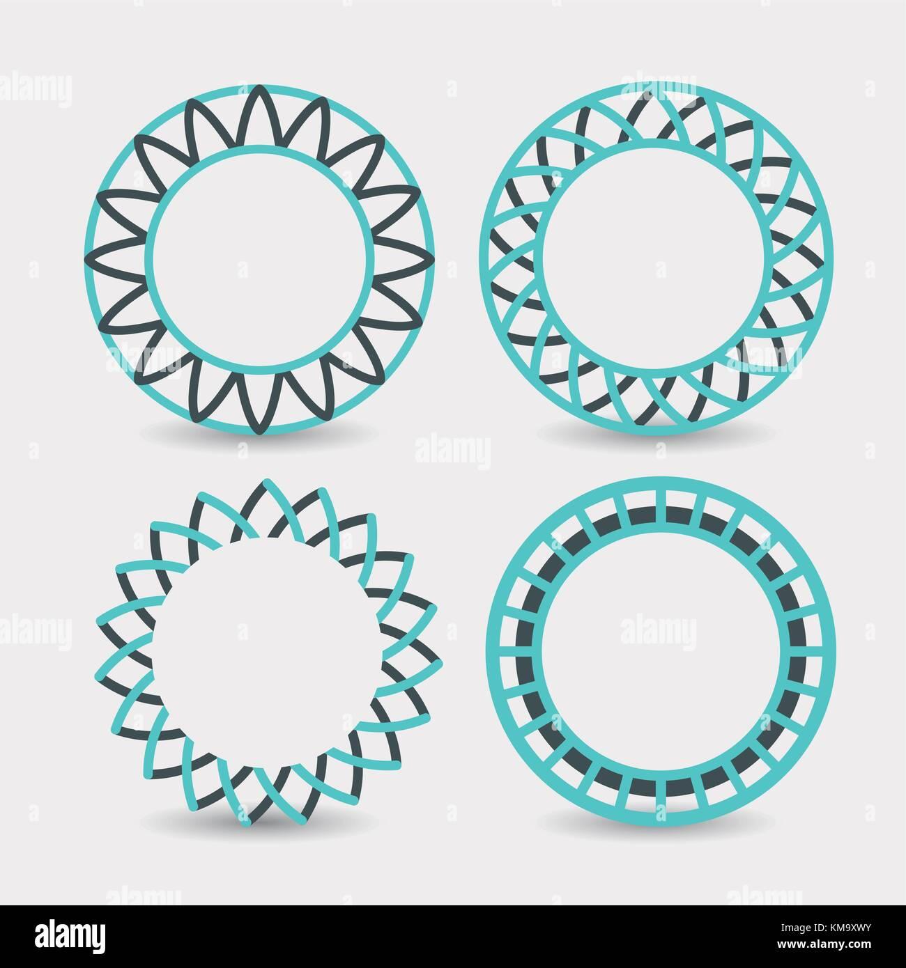 Ensemble de symboles abstract circles logo sur fond blanc Photo Stock