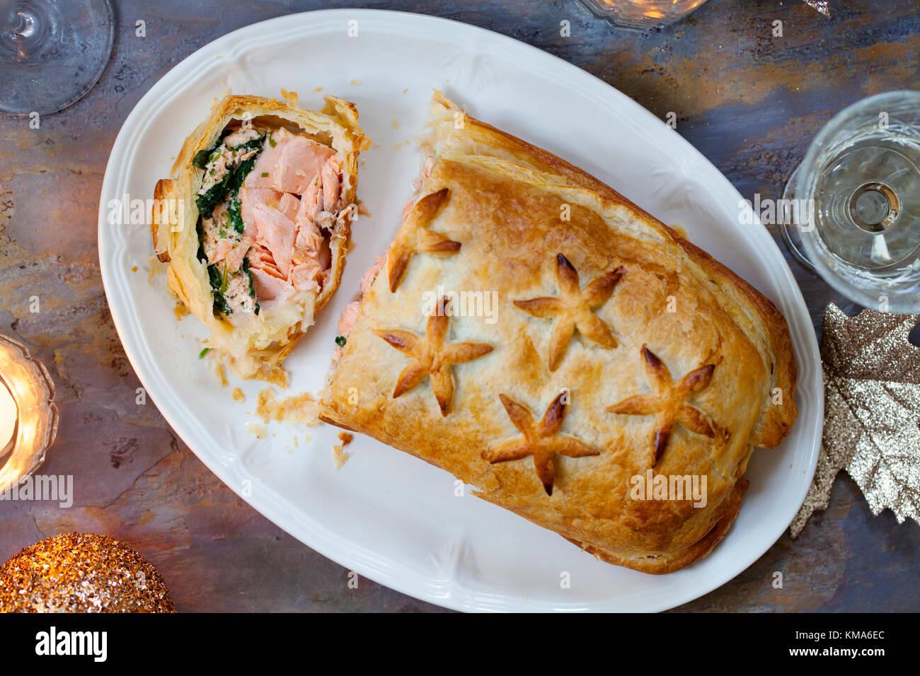 Saumon en croute Photo Stock